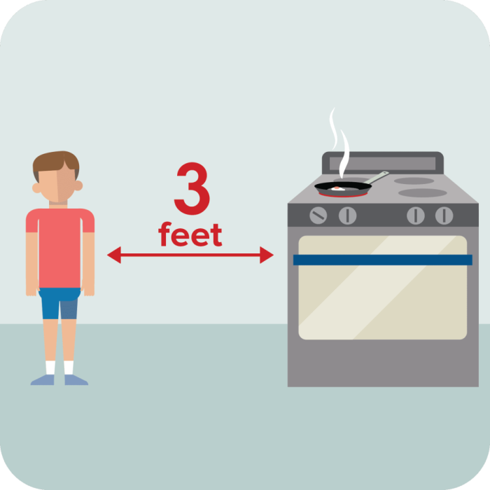 kid 3 feet from stove